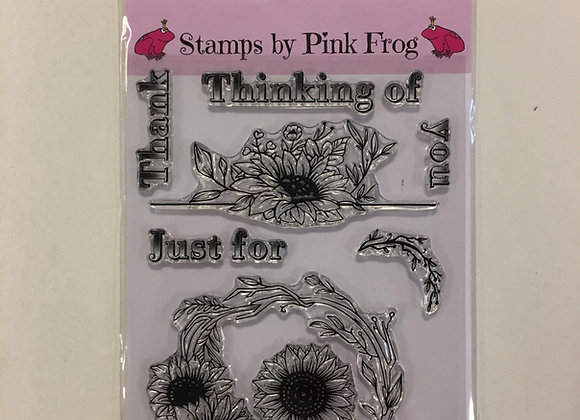 PINK FROG STAMPS - DECORATIVE SUNFLOWERS