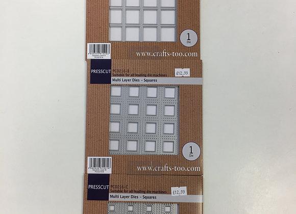 Presscut Multi Layer Dies - Squares - 3 Dies