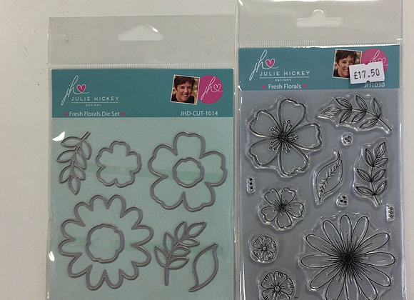 JHD Fresh Florals Stamp & Die Set