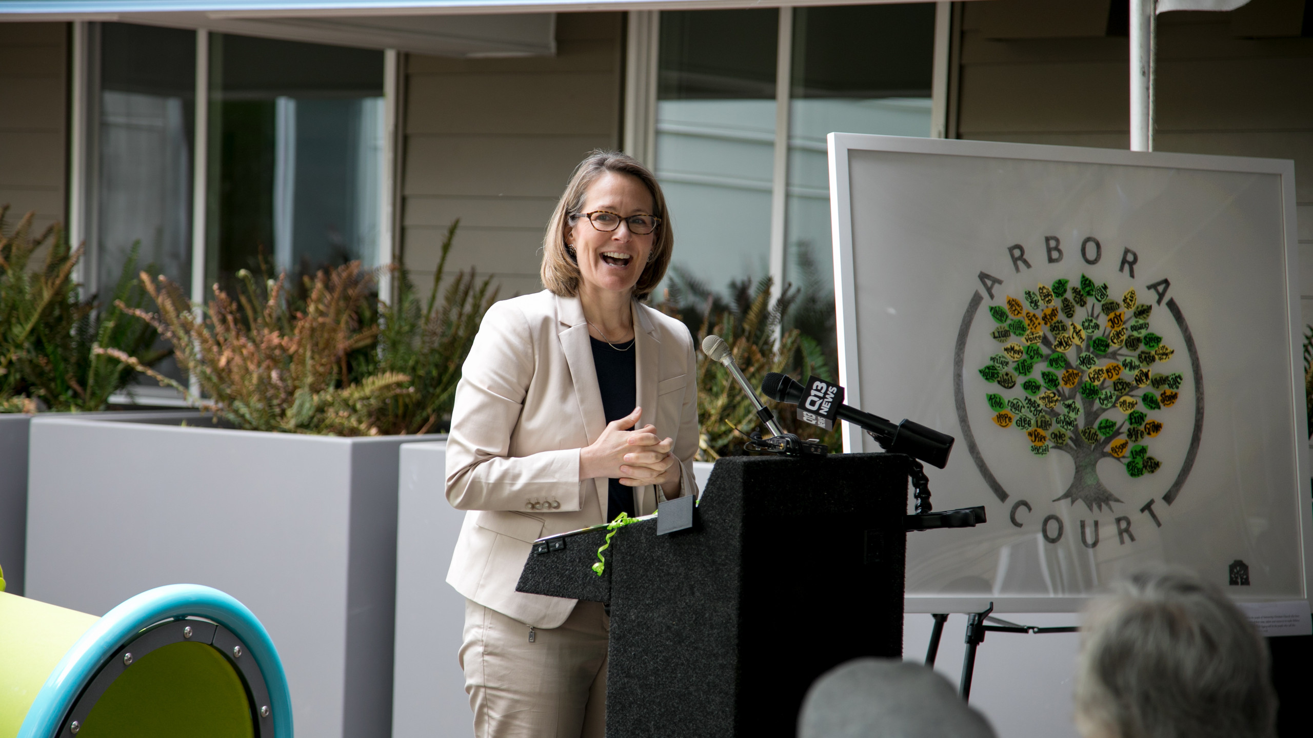 Bellwether CEO Susan Boyd speaks at the opening celebration of Arbora Court on May 8, 2018.
