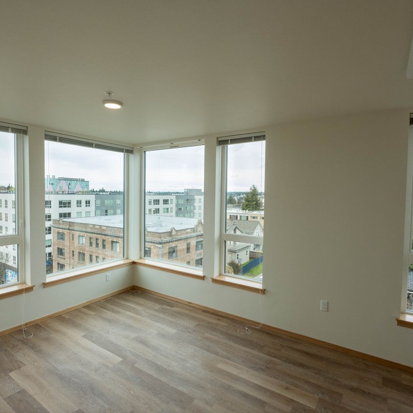 Looking out from the living room of a new apartment at Arbora Court.