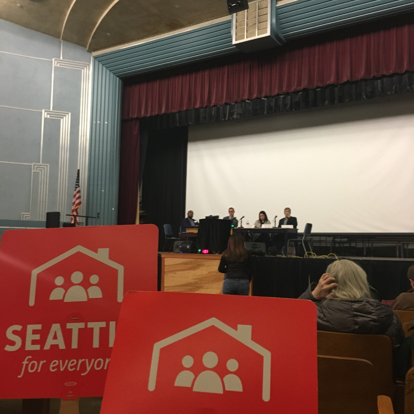 Bellwether Board Member Tejal Pastakia testifies in support of increased density to City Council members at a hearing on the Mandatory Housing Affordability program, part of HALA, for Seattle's District 4 on February 12, 2018.