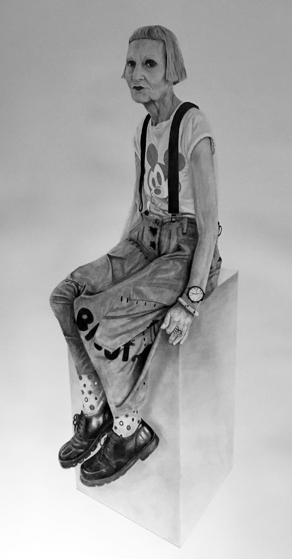 Jean, life size pencil on paper