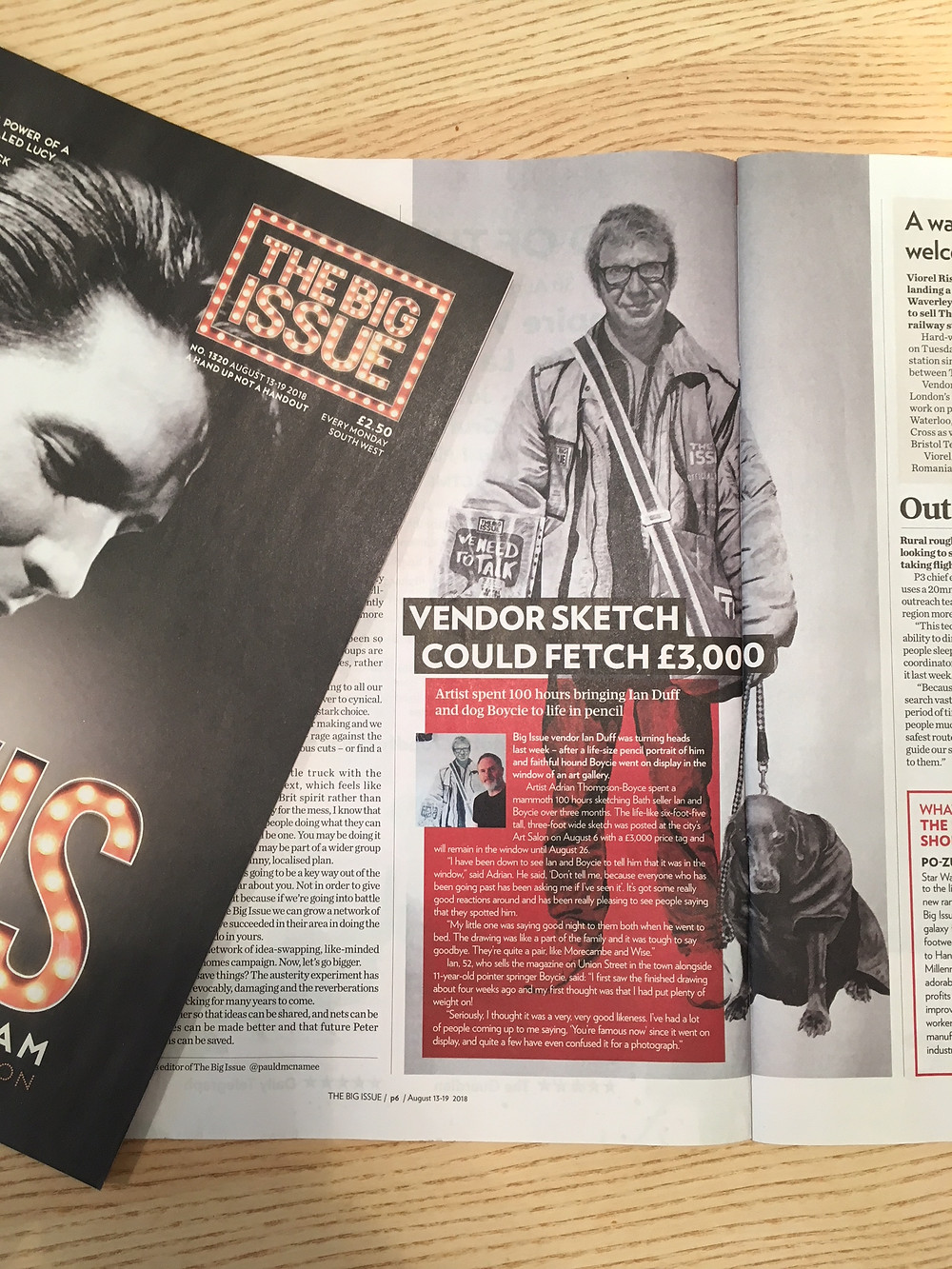 The Big Issue featuring my life size drawing of Ian and his dog Boycie