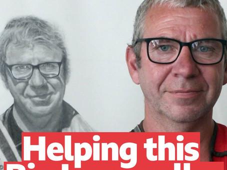 BBC Radio Bristol Interviews Artist  about life size drawing of Big Issue vendor Ian Duff