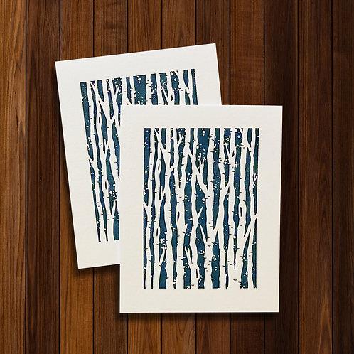 Letterpress Birch / 8 Blank Note Cards
