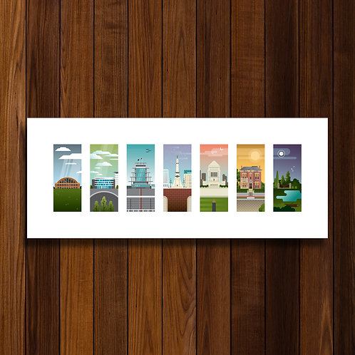 "Indianapolis Landmarks / 20"" x 8"" Print"