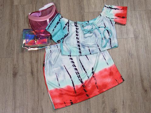 Bodycon TieDye Skirt Set