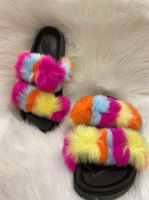 Women Slides Fur Faux Slippers