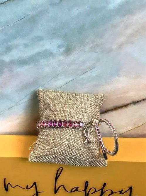 Pink Bracelet and Earring Set