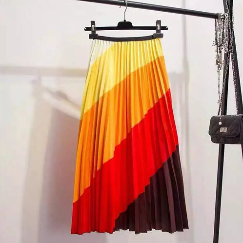 Spring Striped Pleated Skirts