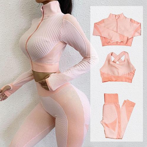 Fitness Suits Yoga Women 3pcs Sets Long Sleeve Shirt+Sport Bra+Seamless Legging