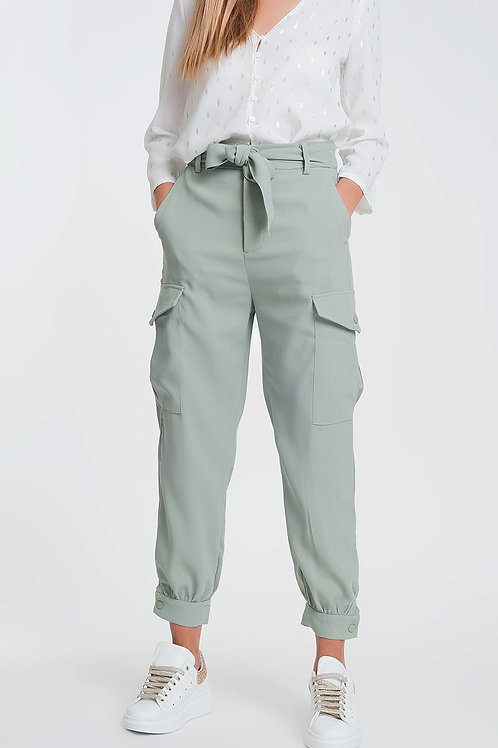 Shirred Waist Cargo Straight Leg Pants With Pockets in Green