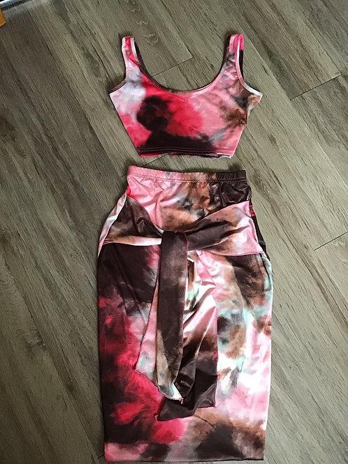 Dye Tie  2pc Skirt Crop Bodycon