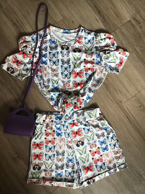 Two Piece Butterfly Short Set