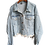 Thumbnail: LANMREM 2020 Autumn Women Coat Loose  Rhinestone Tassel Back Split Denim Jacket