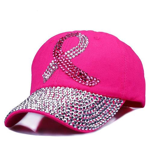 Pink Ribbon Women Studded Crystals Rhinestones Sequins Baseball Cap  Bling