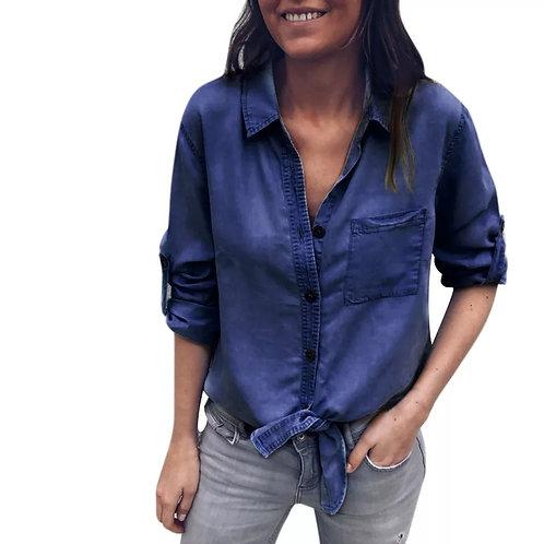 Solid Denim Cuffed Sleeve Bandage Long Sleeve Pocket Top Shirt
