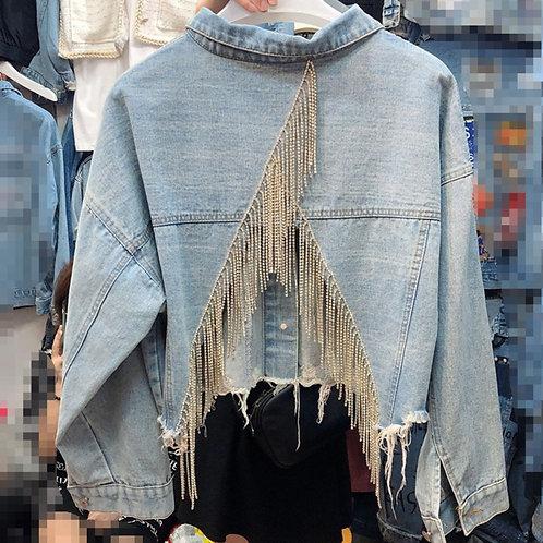 LANMREM 2020 Autumn Women Coat Loose  Rhinestone Tassel Back Split Denim Jacket