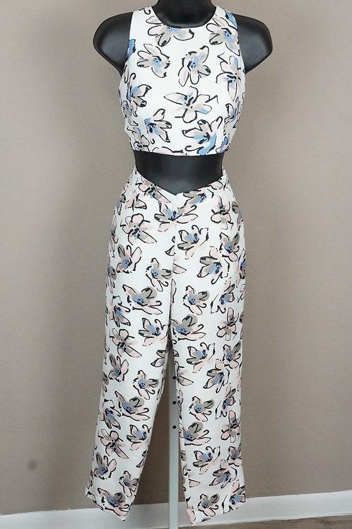 Women Pants 2 Piece Set Crop Top Jumpsuit