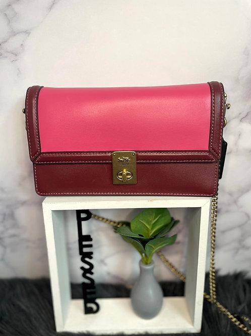 Pink Color Block Coach Handbag