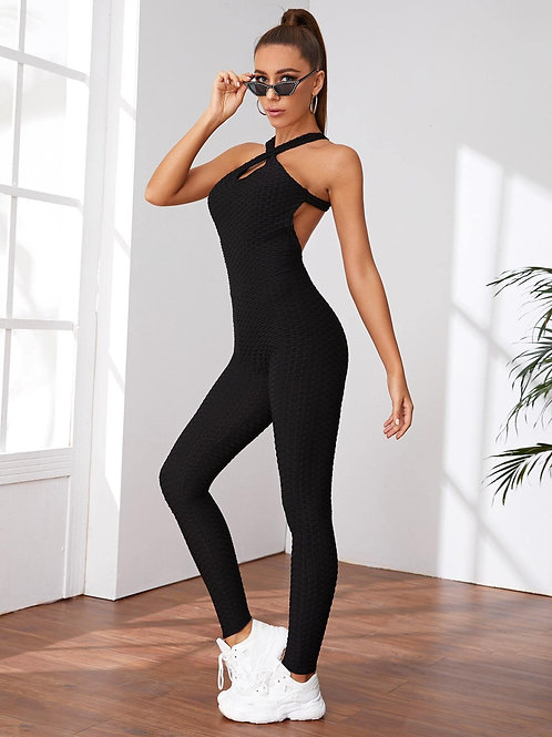 Criss Cross Backless Halter Sports Jumpsuit-Black