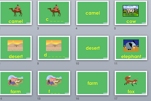 UNIT: Spelling words about animals