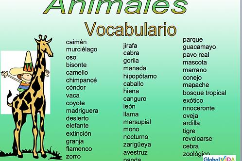 Lista de palabras sobre los animales