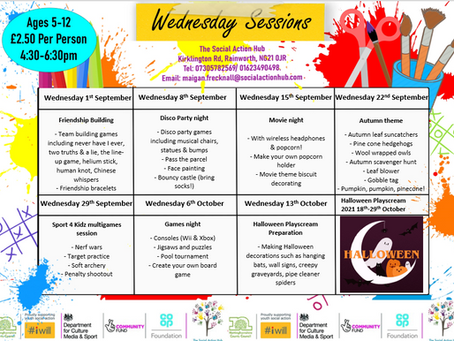 Wednesday Youth Club Timetable