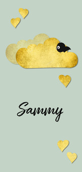 Mooi geboortekaartje met goud accenten en pastel tinten