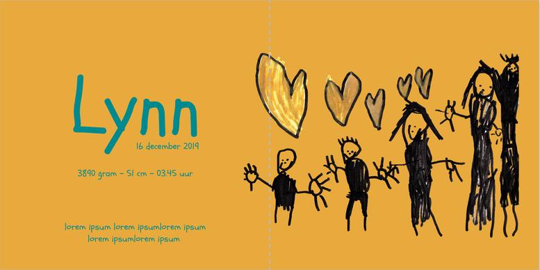 Lynn geboortekaart eigen tekening ontwerp