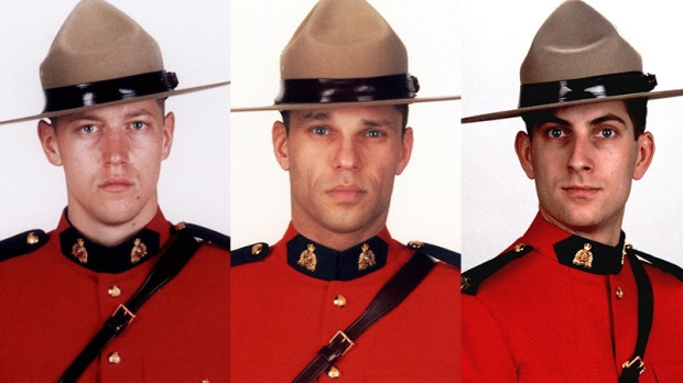 Cst. Douglas James Larche, Cst. Dave Joseph Ross, and Cst. Fabrice Georges Gevaudan, the three mounties killed in the Moncton shootings earlier this year.