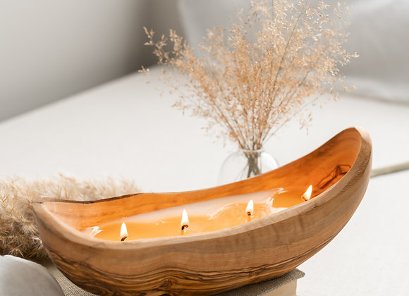 OLIVE WOOD BOAT CANDLE