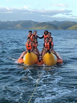 Banana boating at Royal Island Watersports