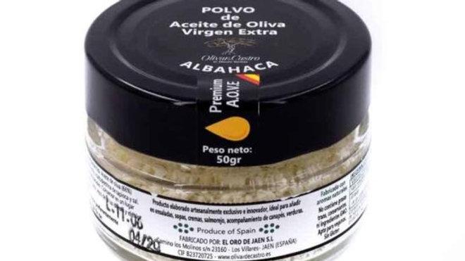 Polvo de aceite de Oliva Virgen Extra con aroma albahaca