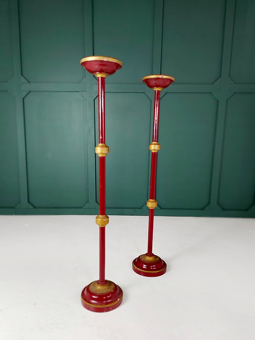 Tall Laqured Candle Sticks