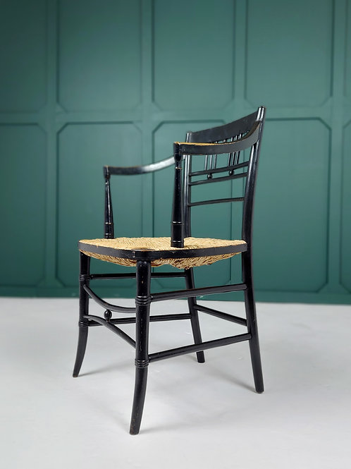 Ebonised Asthetic Movement Elbow Chair