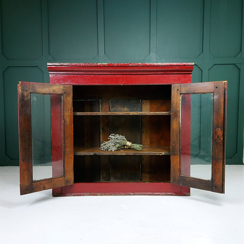 Victorian Pitch Pine Painted School Cupboard