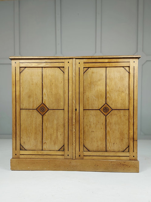 Blonde Marquetry Asthetic Movement Cupboard