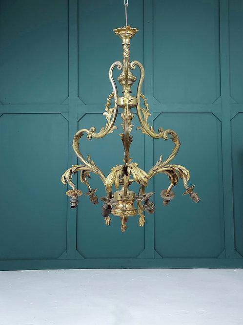 Large Ornate Brass Chandelier