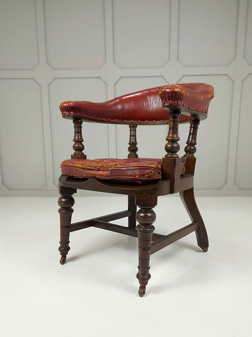 Late 19th C leather Desk Chair