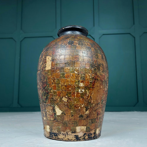 Large Decorated  Stoneware Pot