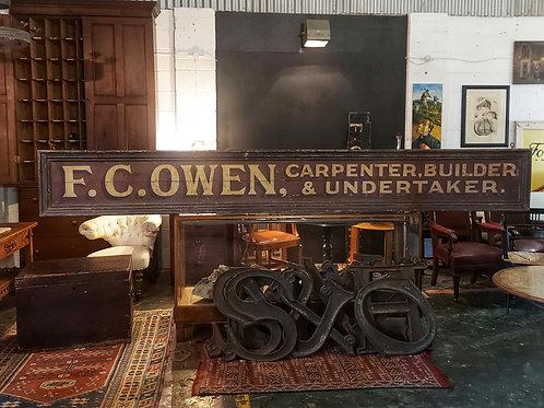 Large Hand Painted Advertising Sign 'Carpenter, Builder & Undertaker'