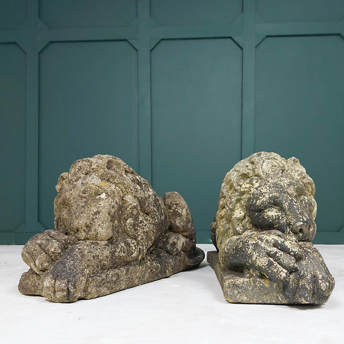 Pair of Weathered Stone Lions