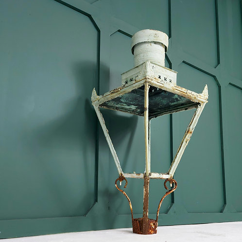 Overpainted 19th C Copper Street Lantern
