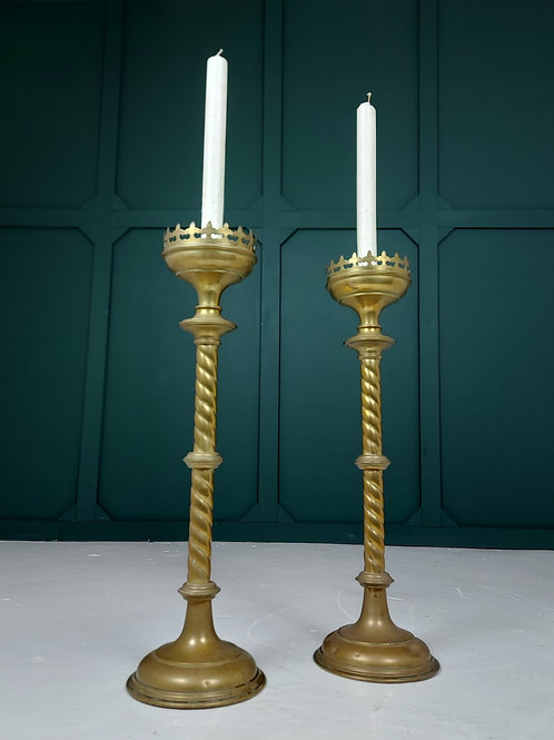 Large Brass Altar Candle Sticks