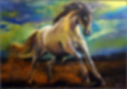 Caballo a galope pintura pastel color
