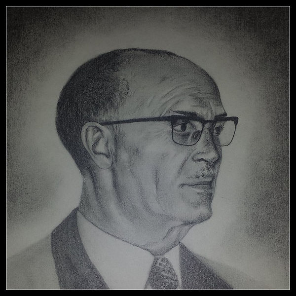 retrato hombre con gafas blanco y negro lapiz carboncillo