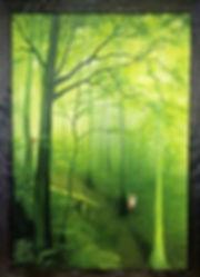 Bosque verde encantado oleo pintura magico zorro ardilla