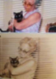 retrato mujer con gato sanguina sepia